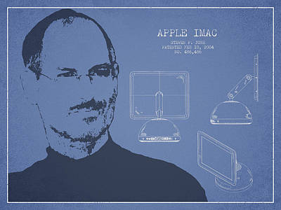 Ios Drawing - Steve Jobs Imac  Patent - Light Blue by Aged Pixel