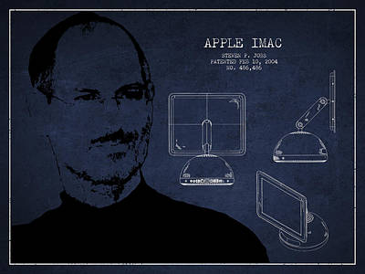 Ios Drawing - Steve Jobs Imac  Patent - Navy Blue by Aged Pixel