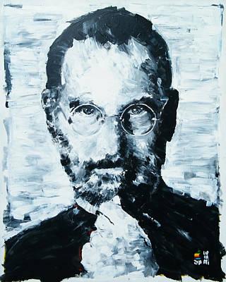 One Stroke Painting - Steve Jobs by Michael Leporati