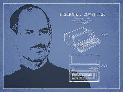 Steve Jobs Personal Computer Patent - Light Blue Print by Aged Pixel