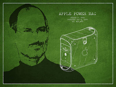 Ios Drawing - Steve Jobs Power Mac Patent - Green by Aged Pixel