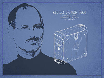 Ios Drawing - Steve Jobs Power Mac Patent - Light Blue by Aged Pixel