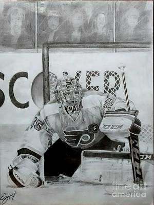 Hockey Original featuring the drawing Steve Mason by Ezra Strayer