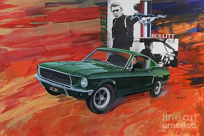 Ford Mustang Painting - Steve Mcqueen As Bullitt by Michael Hagel
