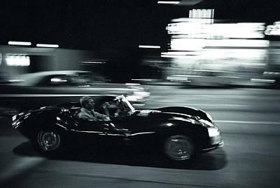 Steve Mcqueen Jaguar Xk-ss On Sunset Blvd Print by Georgia Fowler
