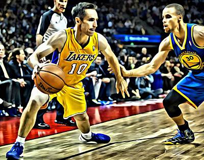 Basketball Painting - Steve Nash In Action by Florian Rodarte