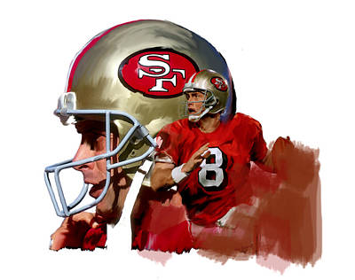 Quarterback Drawing - Steve Young   by Iconic Images Art Gallery David Pucciarelli