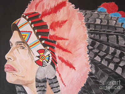 Steven Tyler Painting - Steven Tyler As A Chrerokee Indian by Jeepee Aero