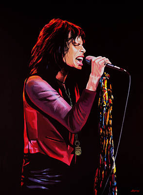Twins Painting - Steven Tyler In Aerosmith by Paul Meijering