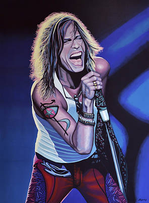 Twins Painting - Steven Tyler Of Aerosmith by Paul Meijering