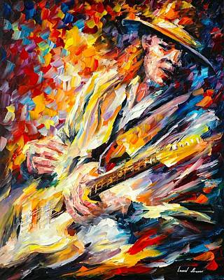 Rays Painting - Stevie Ray Vaughan by Leonid Afremov