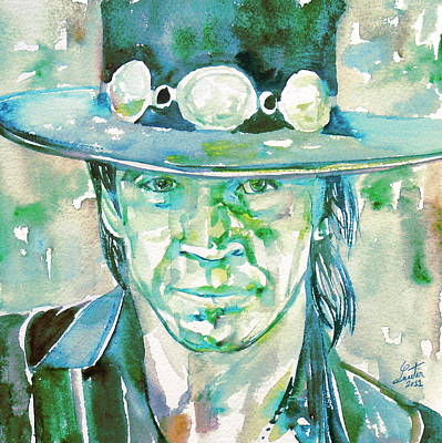 Rays Painting - Stevie Ray Vaughan- Watercolor Portrait by Fabrizio Cassetta