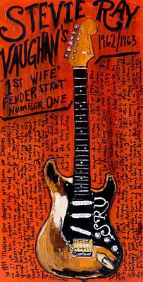 Srv Painting - Stevie Ray Vaughn Fender Stratocaster by Karl Haglund
