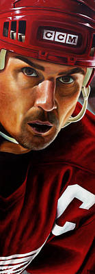 Hockey Painting - Stevie Y by Marlon Huynh