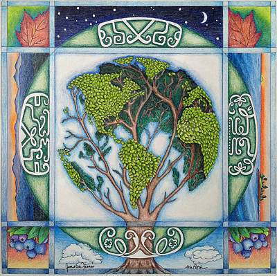 Tree Of Life Drawing - Stewardship Of The Earth by Arla Patch