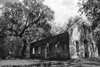Chapel Of Ease Photograph - St.helena Chapel Of Ease Bw 1 by Steven  Taylor