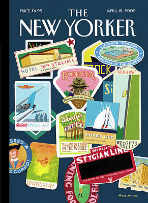 Badge Painting - Stickers Or Badges Of Vacation Destinations by Bruce McCall