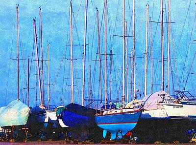 Early Spring Drawing - Still In Storage North Muskegon Marina  by Rosemarie E Seppala