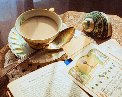 Still Life - Teacup Shell And Devotions Print by Jon Woodhams