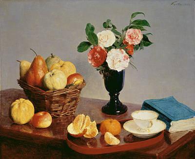 Carnation Painting - Still Life by Ignace Henri Jean Fantin-Latour