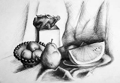 Watermelon Drawing - Still Life 2 by Alexandra-Emily Kokova