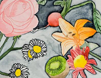 Kiwi Drawing - Still Life Garden by Jeanette K