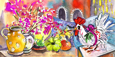 Rooster Drawing - Still Life In Bergamo 02 by Miki De Goodaboom