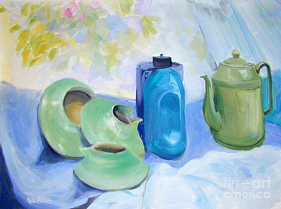 Old Objects Painting - Still Life In Blue And Green Pottery by Greta Corens