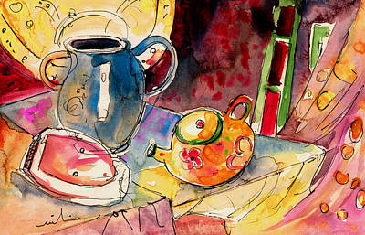 Travel Sketch Drawing - Still Life In Borgo In Italy 02 by Miki De Goodaboom