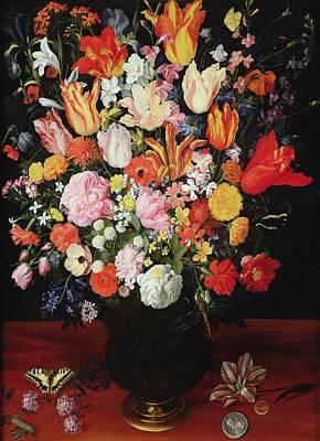 Swallow Painting - Still Life Of Flowers by Kasper or Gaspar van den Hoecke