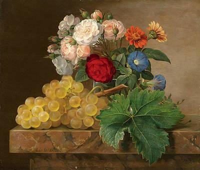 Johan Laurentz Jensen Painting - Still Life Of Flowers And Grapes by Johan Laurentz Jensen