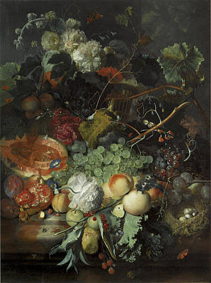 Still Life Of Fruit Birds Nest And Basket Of Flowers Print by Jan Van Huysum