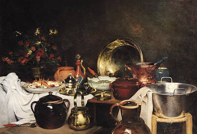 Still Life Oil On Canvas Print by Theodore Charles Ange Coquelin