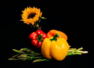 Asparagus Photograph - Still Life Peppers Asparagus Sunflower by Jon Woodhams