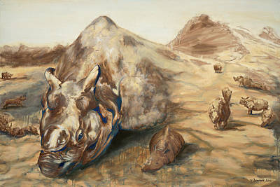 One Horned Rhino Painting - Still Life by Sarah Soward