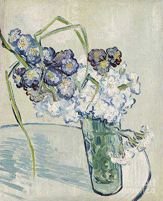 Van Gogh Glass Painting - Still Life Vase Of Carnations by Vincent van Gogh