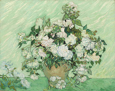Impressionism Painting - Still Life  Vase With Pink Roses by Celestial Images