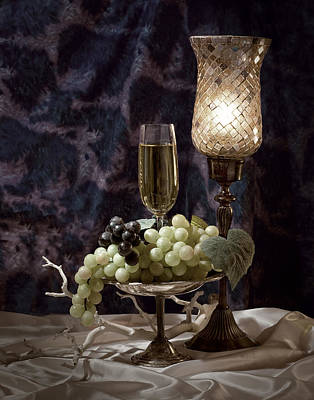 Still Life Wine With Grapes Print by Tom Mc Nemar
