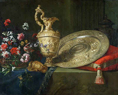 Still Life With A Gilded Ewer Print by Meiffren Conte