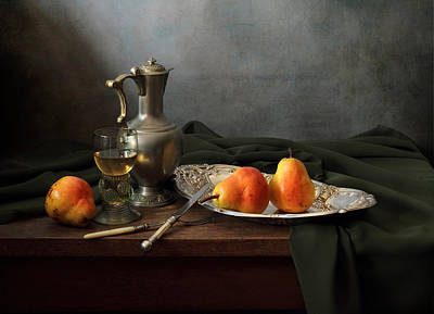 Still Life With A Jug And Roamer And Pears Print by Helen Tatulyan