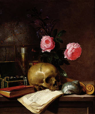 Still Life With A Skull Oil On Canvas Print by Letellier