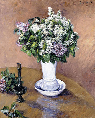 Polish Painting - Still Life With A Vase Of Lilac by Gustave Caillebotte