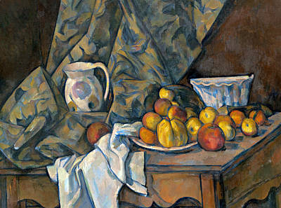 Wooden Table Painting - Still Life With Apples And Peaches by Paul Cezanne