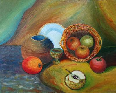 Table Cloth Painting - Still Life With Apples by Stefan Silvestru