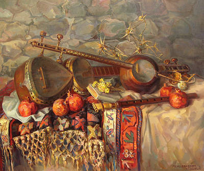 Musical Artist Painting - Still-life With Armenian Musical Instruments Duduk Thar And Qyamancha by Meruzhan Khachatryan