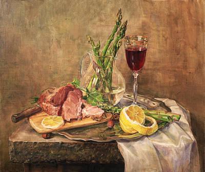 Asparagus Painting - Still Life With Asparagus by Galina Gladkaya