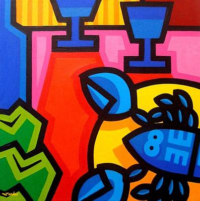 Wine Glasses Painting - Still Life With Blue Lobster by John  Nolan