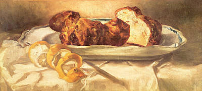 Still Life With Brioches And Lemon, 1873 Oil On Canvas Print by Edouard Manet