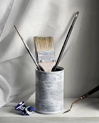 Still Life With Brushes Print by Krasimir Tolev