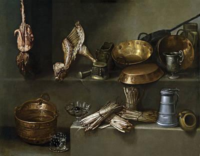 Asparagus Painting - Still Life With Cookware And Asparagus by Ignacio Arias